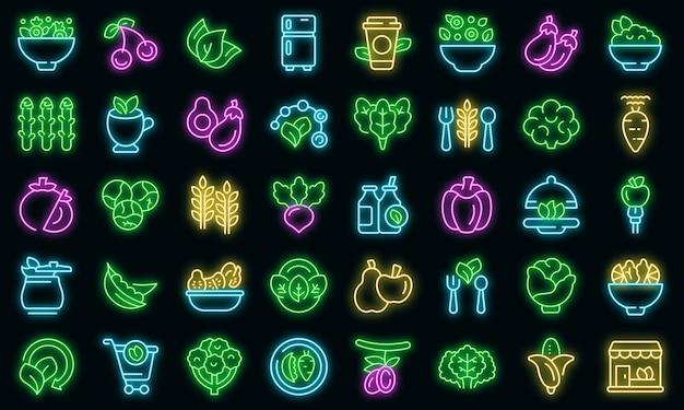 Набор иконок вегетарианства вектор контура. веганские фрукты. диетическая брокколи