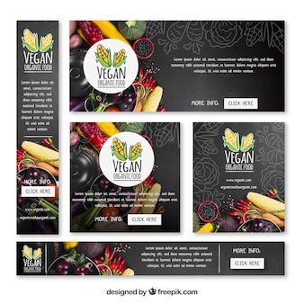Vegeterian restaurant web banner collection with photo