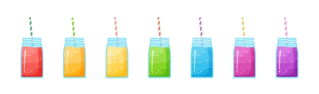 Vegeterian smoothie shake cocktail collection illustration. set of glass jar with layers of sweet vitamin juice cocktail or protein shake for smoothies fitness bar design