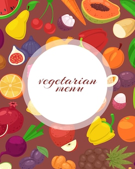 Vegeterian and vegan menu poster with tropical fruits and vegetables  illustration.