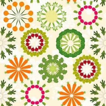野菜曼荼羅シームレスパターンデザイン