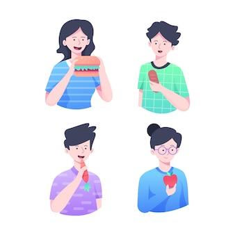 Овощи и фаст-фуд едят люди