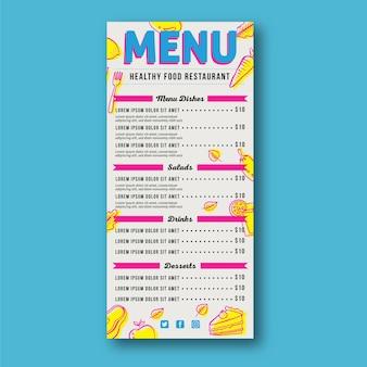 Modello di menu del ristorante di verdure e torte