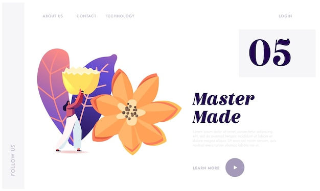 Veggies and fruits carving craft exhibition landing page template. tiny woman character carry huge flower made of fruits or vegetables