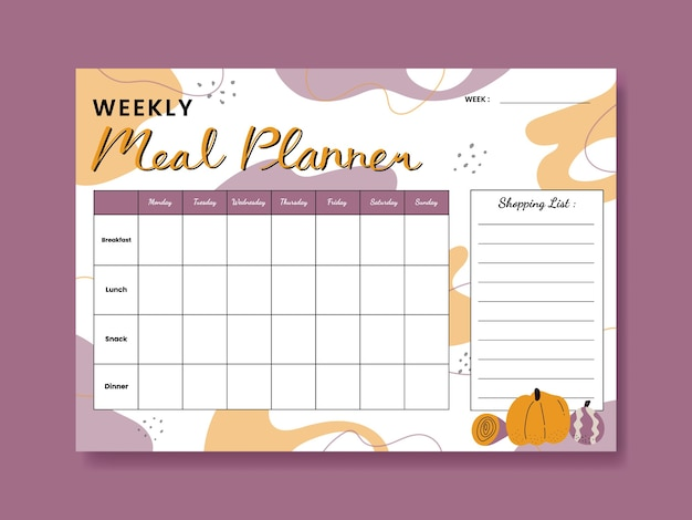 Veggies themed weekly meal planner