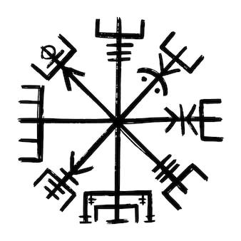 Vegvisir. графическая иллюстрация компаса викинга