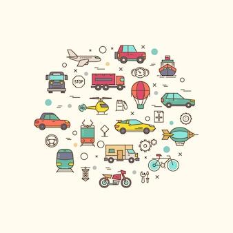 サークルデザインの車両と輸送のアイコン。細い線スタイルのアイコンと交通機関