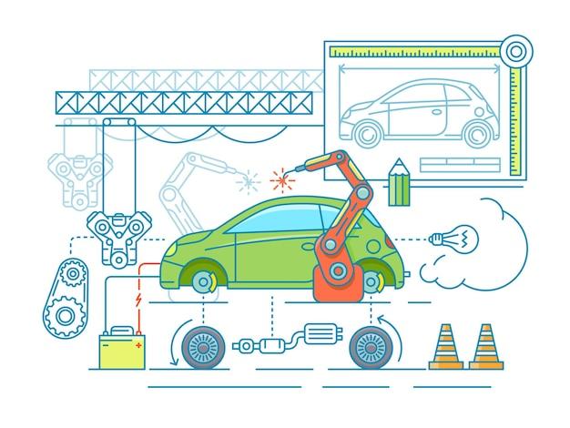 차량 조립 평면 디자인. 자동차 제조, 도면에 따라 빌드하십시오.