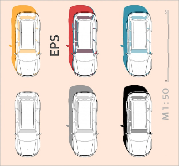 Vehicle car drawing set on different colors, top view
