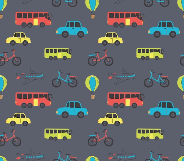 Vehicle cartoon seamless background