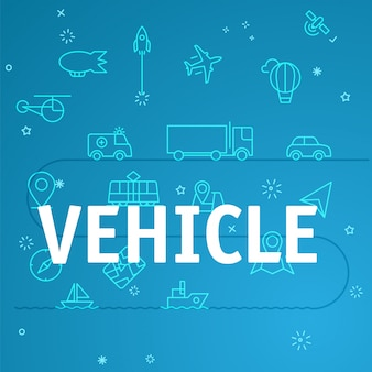 Vehicle concept. different thin line icons included