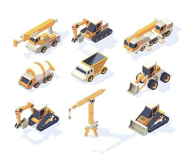 車両構造。ビルダーの等尺性コレクションのための大型車トラックバンクレーン掘削機トランスポーター機械。イラスト等尺性輸送、貨物輸送産業