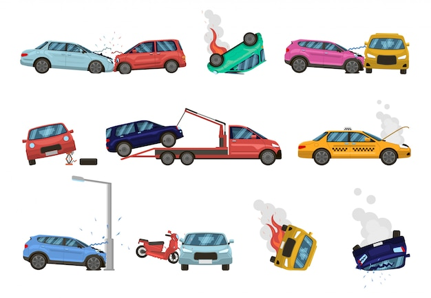 Vehicle damage. transport crash and dangerous damage, broken, fractured vehicles, different unpleasant situations on city road  illustration set. damaged cars assistance, insurance icons