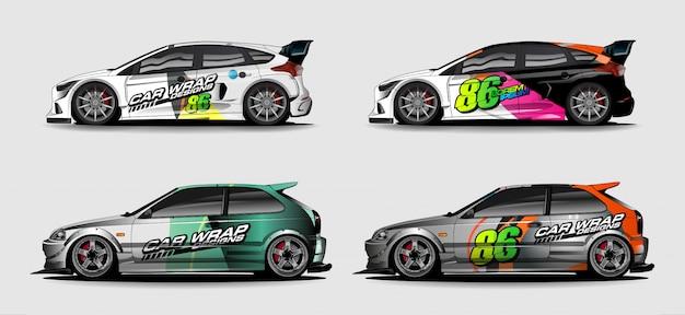Автомобильный графический комплект. абстрактный изогнутый фон для дизайна гоночных автомобилей, фургонов и грузовиков