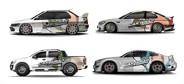 Автомобильный графический комплект. абстрактные линии с криволинейным фоном для гоночной машины, фургона и пикапа виниловой наклейки