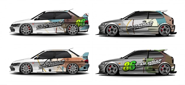 Vehicle graphic kit. abstract lines with curve shaped background for race car, van and pickup truck vinyl sticker wrap