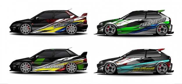 Vehicle graphic kit vector. modern abstract background for car wrap branding and automobile sticker decals livery
