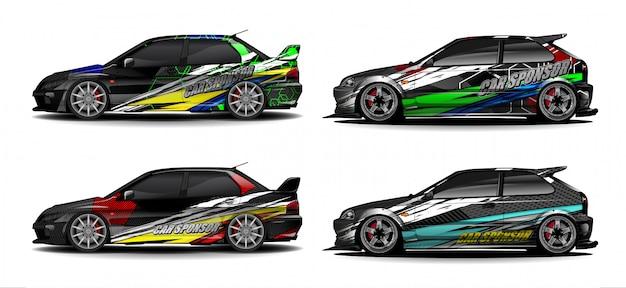 Автомобиль графический комплект вектор. современный абстрактный фон для автомобильной брендинга и автомобильных наклеек.