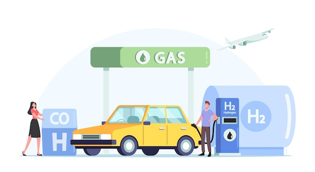 Vehicle hydrogen fuel filling service, green energy, biodiesel. driver characters refueling car on station concept. man pumping h2 petrol for charging auto, cartoon people vector illustration