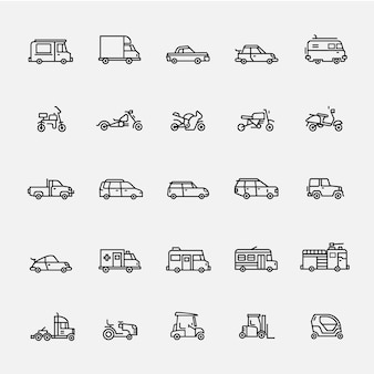 Vehicle icon line vector