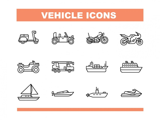 Vehicle icon set in line style vector