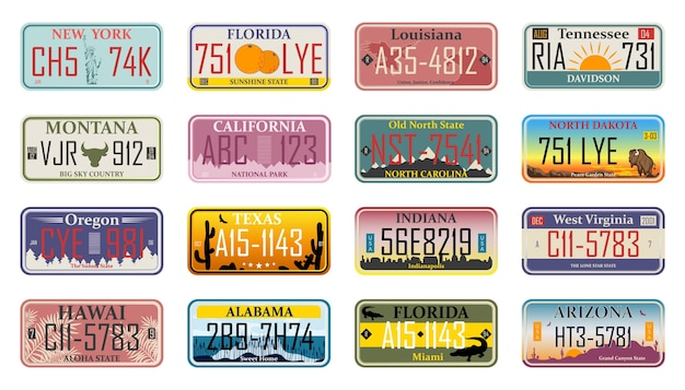 Vehicle license numbers of different usa states and countries