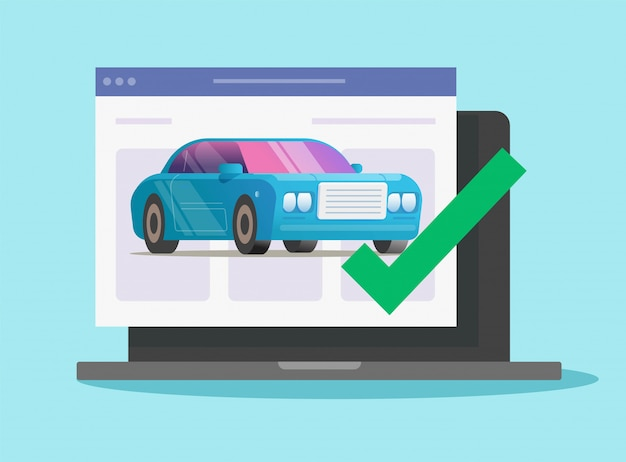 Vehicle online diagnostic check test with approved checkmark security on computer
