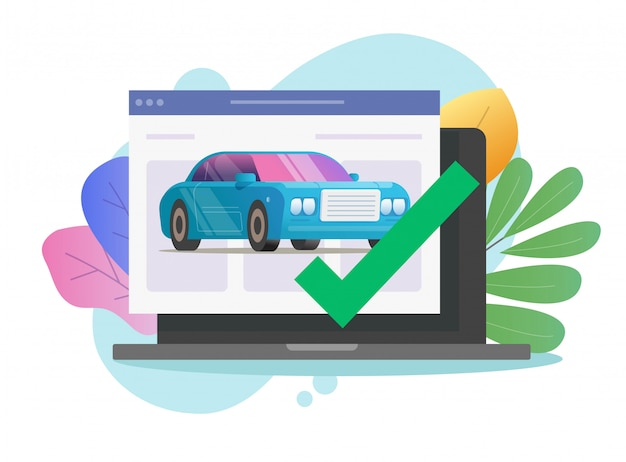 Vehicle online diagnostic check test with approved checkmark security on laptop computer flat