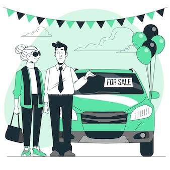 Иллюстрация концепции продажи автомобиля