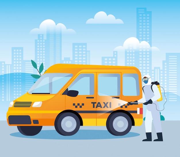 Услуги по дезинфекции такси для дизайна иллюстрации болезни 19