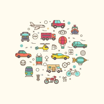 Vehicle and transport icons in circle design. transportation   with thin line style icon