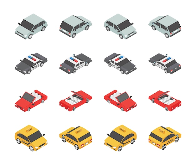 Vehicle types icons set