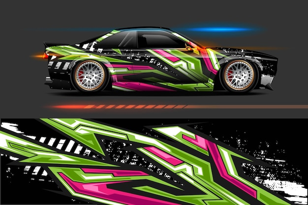 レーシングストライプストリーク抽象的な背景を持つ車両ビニールラップデザイン