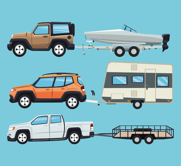 Vehicle with trailer house and boat icon