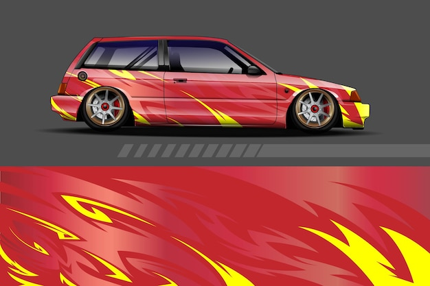レーシング抽象的な背景を持つ車両ラップとビニールステッカーのデザイン