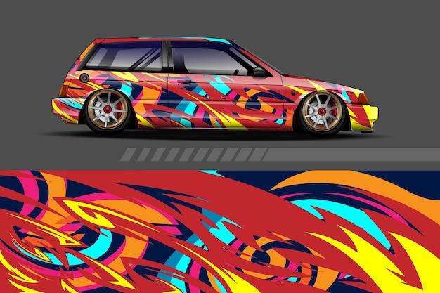Автомобильная упаковка и дизайн виниловой наклейки с гоночным абстрактным фоном