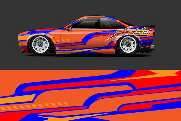 Vehicle wrap and vinyl sticker design with racing abstract background
