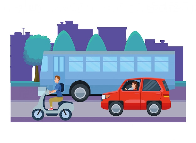 Vehicles and motorcycle with drivers riding