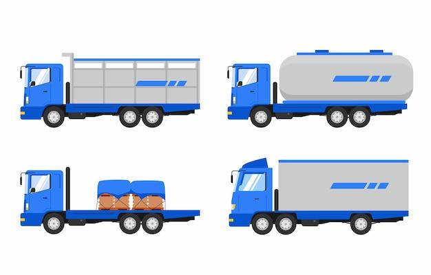 Vehicles set cargo trucks vector illustration