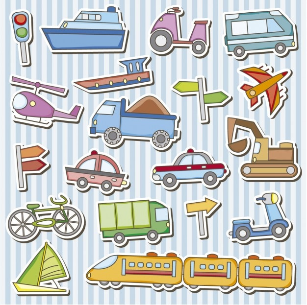 Vehicles toys stickers Free Vector