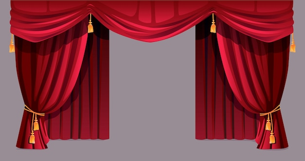 Velvet curtain isolated decorative stage drapery cloth of silk