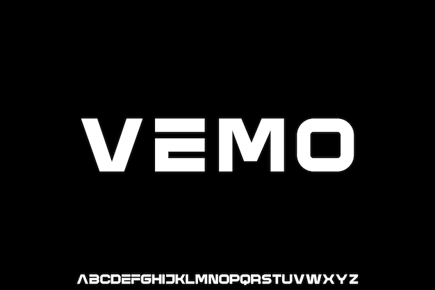 Vemo, футуристический геометрический шрифт с отображением шрифта