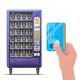 自動販売機とクレジットカードの手。機械自動販売機、自動販売機フロント、飲食物自動販売機。ベクトルイラスト