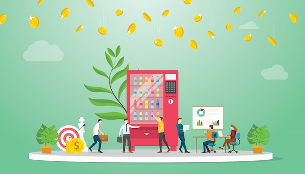 Vending machine business growth finance concept