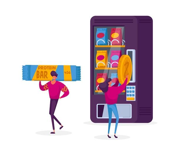 自動販売機の食品の概念。