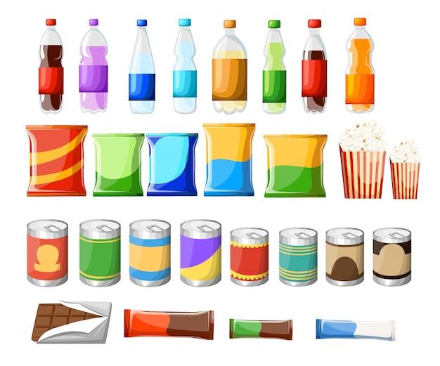 자판기 상품 아이템 세트. 삽화. 흰색 바탕에 음식과 음료 요소입니다. 패스트 푸드 스낵과 음료 평면 아이콘. 스낵 팩 세트 재고