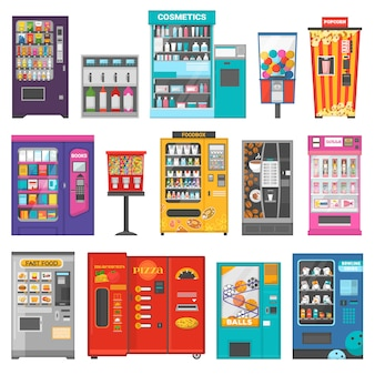 Vending machine vector vend food or beverages and vendor machinery technology to buy snack or drinks illustration set isolated on white