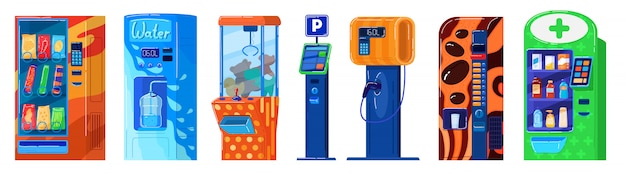 Vending machine  on white, parking, snacks and water, gas station and toys,  illustration