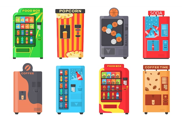 Vending machine with fast food snacks, drinks, nuts, chips, cracker, juice, sandwich. colorful automat front view with cold drink, snack, popcorn and coffee in flat design. illustration.