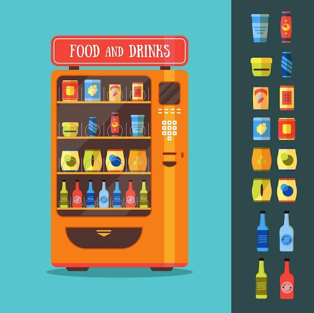 음식과 음료 포장 세트가있는 자동 판매기